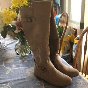 Just Fab beige faux suede long knee boots sz 10